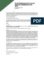 Reforma Parcial del Reglamento de la Ley de Alimentación para los Trabajadores y las Trabajadoras 2013