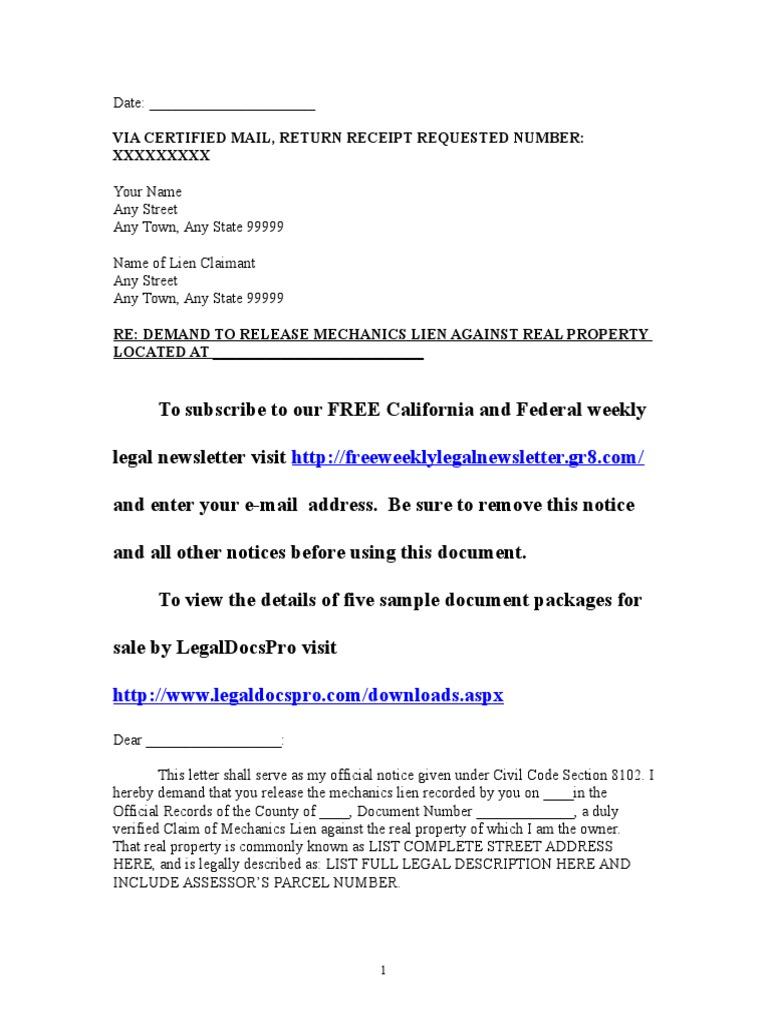 Sample Mechanics Lien Release Demand Letter For California