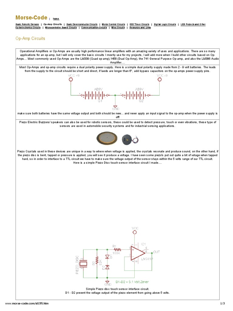 Op Amp Circuitspdf Operational Amplifier Tapping Morse Code Circuit