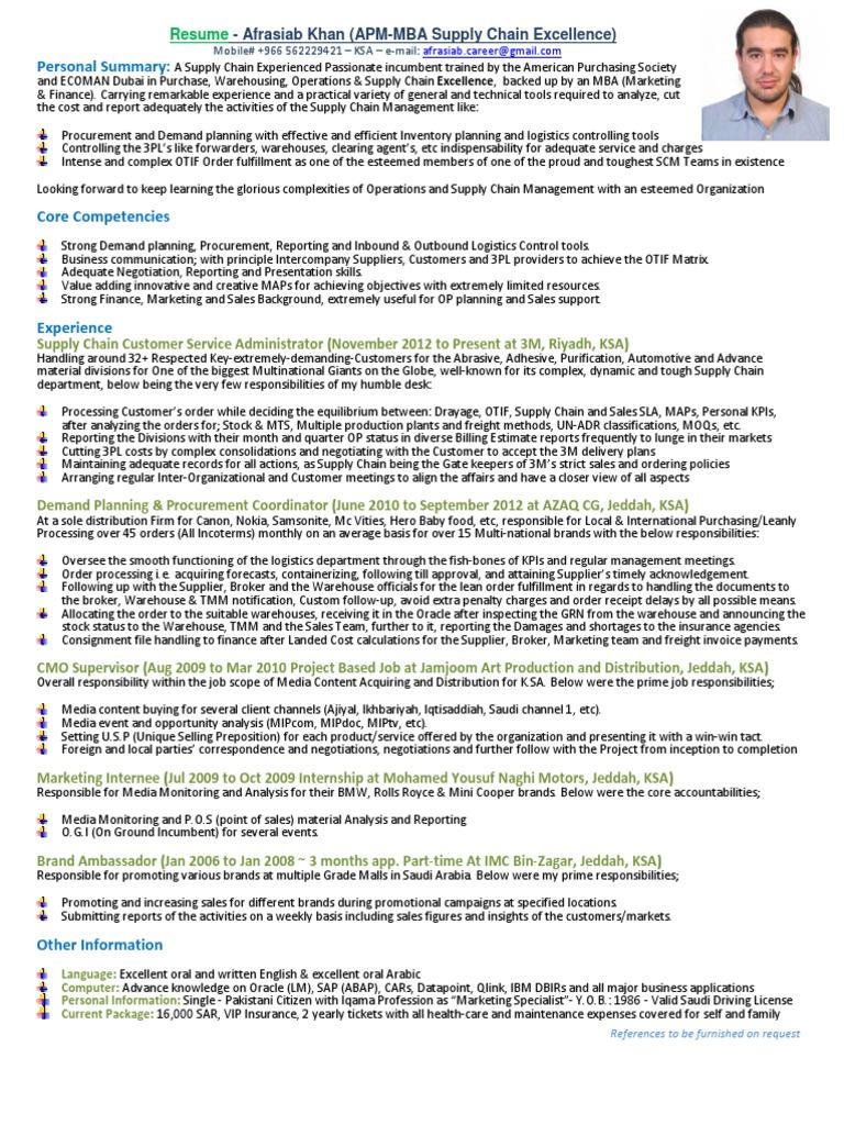 Afrasiab Khan Resume and Achievment Letter - SCM (1) | Supply Chain ...