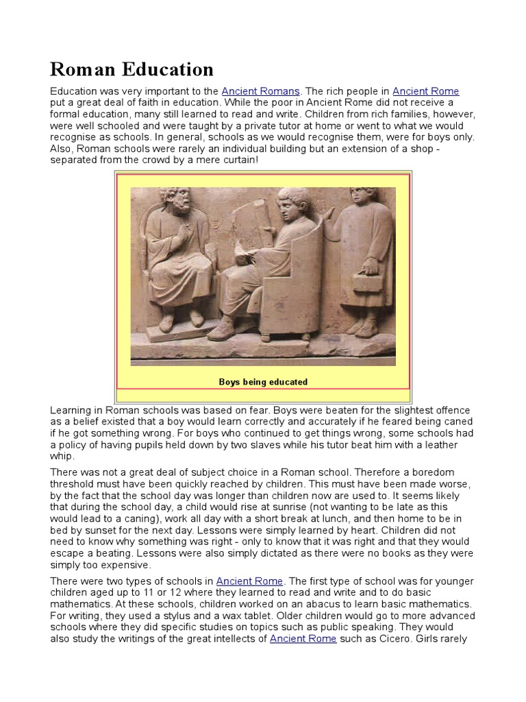 roman education This page is all about roman education from the republic through the centuries curious come check it out.