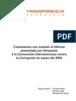 Comentarios Con Ocasion Al Informe Presentado Por Venezuela Por La OEA