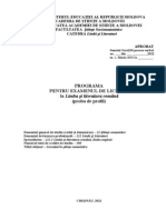 PROGRAMA Pt Exam de Licenta Proba de Profil