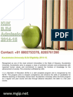 KUK University B.Ed Admission 2014-15