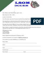 FHS Spring Break Camp Flyer