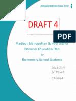 MMSD Draft Behavior Education Plan for Elementary School Students 032014