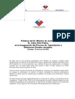 Discurso Ministro Solís en CAPACITACIÓN A DEFENSORES PENAL ADOLESCENTE 15-3-06