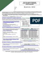 Tests de Langue Francaise 2012-2013