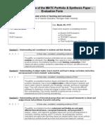 matc portfolio evaluation form
