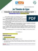 Rapport Temoins de Ligne Novembre 2013