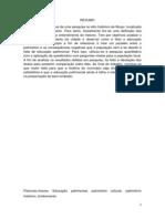 ARTIGO - O PATRIMONIO HISTÓRICO DE MUQUI E A PERDA DA MEMÓRIA COLETIVA RELACIONADA À FALTA DE EDUCAÇÃO PATRIMONIAL