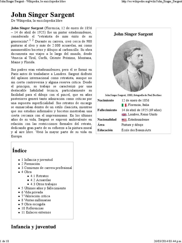 John Singer Sargent Wikipedia, La Enciclopedia Libre