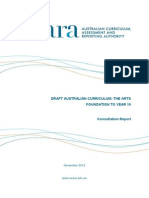 acara the arts consultation report 2012
