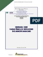 ORDENANZA CALIDAD TERMICA EDIFICACIONES MUNICIPIO MARACAIBO Nº 030
