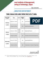 Exam Time Table I MTT II Sem April 2014