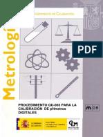 CEM QU-003. Procedimiento QU-003 Para La Calibracion de pHmetros Digitales