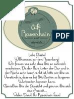 Cafe Rosenhain Speisekarte