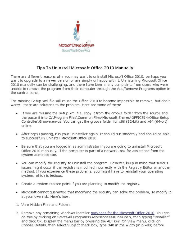 Tips To Uninstall Microsoft Office 2010 Manually   Microsoft
