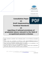 EIOPA-CP-12-005 Draft Implementing Technical Standards IORPs
