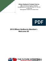 Eltham Redbacks 2010 Members Welcome Kit 2