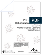 Before Surgery Rehabilitation Program ACL Reconstruction