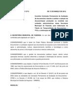 Resolução SMF n. 2713 - Fazenda - Comissão Permanente de Avaliação