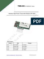 TWS-HS Series 315MHz 433.92Mhz 868.35MHz ASK RF Transmitter Module Data Sheet