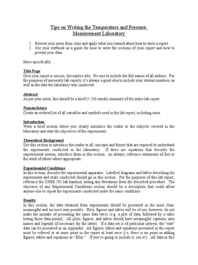 Tips On Writing Lab Reports  PDF  Data  Laboratories