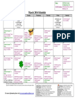SCDNF March 2014 Schedule
