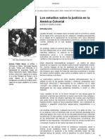 Estudios Sobre La Justicia en La America Colonial
