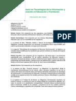 Plan de Estudios Tecnolog-As de La Informaci-n y La Comunicaci-n en Educaci-n y Formaci-n