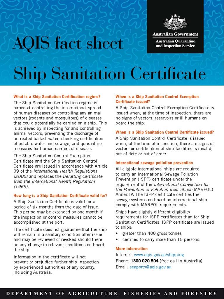 Ship Sanitation Cert Sanitation Sewage