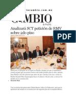 27-03-2014 Diario Matutino Cambio de Puebla - Analizará SCT petición de RMV sobre 2do piso.