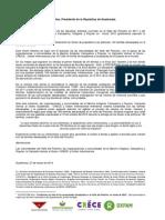 Carta Abierta Polochic a Presidente Otto Perez Molina MARZO 2014
