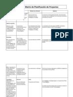 Matriz de Planificacion de Proyectos