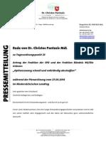 Pantazis' Rede | Optionszwang schnell und vollständig abschaffen | 27.03.2014