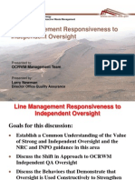 Line Mgmt Responsiveness to Independent Oversight at Nuclear Facilities