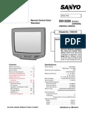 Service Manual Remote Control Color Television: Original Version