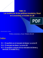 Tema_10. Politica Monetaria y Fiscal. Modelo Is_lm