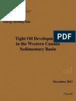 Tight Oil Developments in in the Western Canada Sedimentary Basin