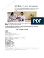 Daily Checklist for Elders to Avoid Memory Loss