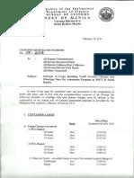 BOC Customs Memorandum Order 7-2014