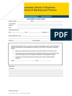School of Banking and Finance Cover Sheet