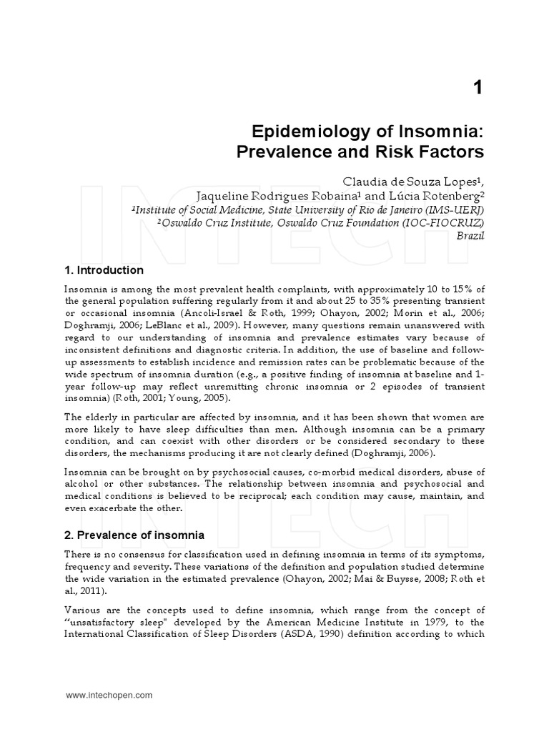 epidemiology of insomnia- prevalence and risk factors | insomnia