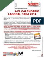 Comunicado Toca Ya El Calendario Laboral Para 2014