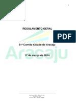 Regulamento Corrida Cidade de Aracaju 2014