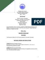 Medford City Council regular meeting agenda April 1, 2014