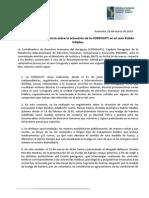 Comunicado aclaratorio sobre la actuación de la CODEHUPY en el caso Rubén Villalba