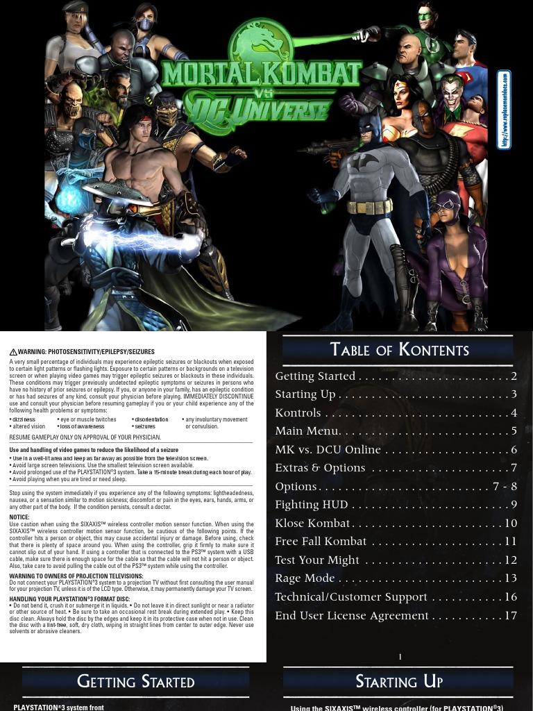 Mortal Kombat vs Dc Universe - Manual - PS3 | Secure Digital