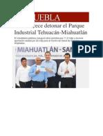 27-03-2014 Milenio.com - RMV ofrece detonar el Parque Industrial Tehuacán-Miahuatlán.